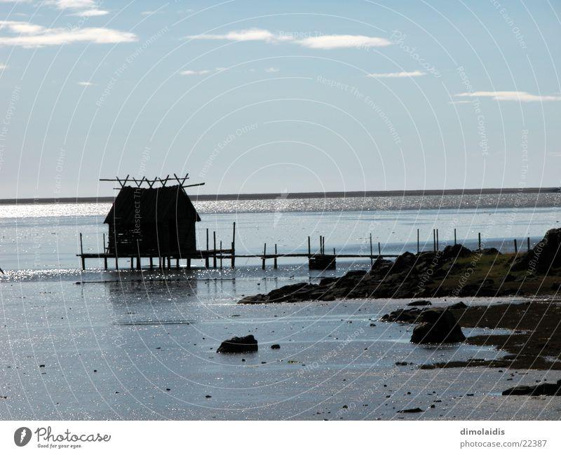 tag am meer Wasser Meer Haus Steg Angeln Fischer Flut Ebbe