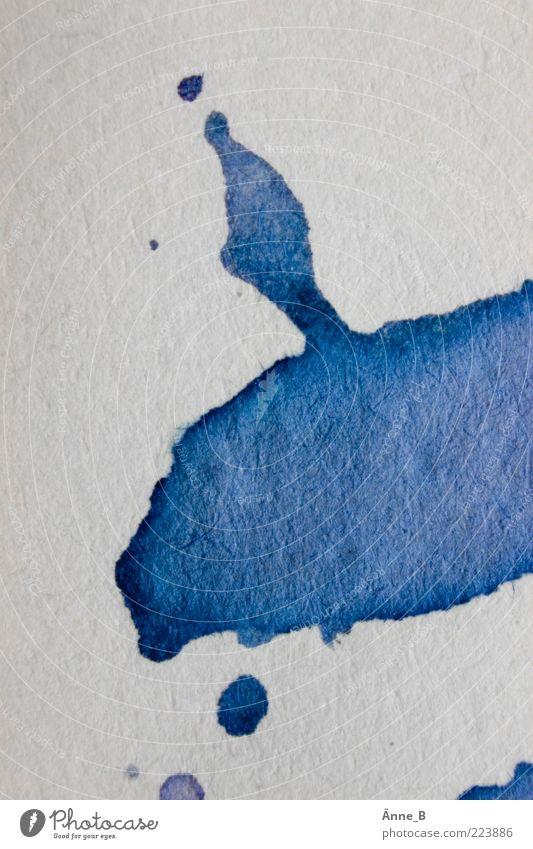 Missglückter Rorschachtest Wasser blau weiß Tier See Freizeit & Hobby Papier Urelemente Tropfen malen Zeichen Hase & Kaninchen Zettel Fleck Künstler Muster