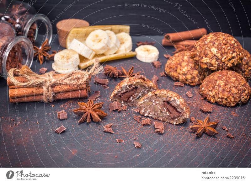 Kekse aus Haferflocken mit Schokolade Dessert Kräuter & Gewürze Ernährung Frühstück Mittagessen Diät Kakao Tisch Essen lecker natürlich braun weiß Energie