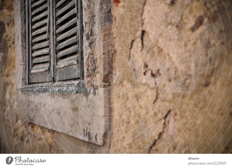 windows 1927 Altstadt Menschenleer Haus Bauwerk Gebäude Mauer Wand Fenster Fensterladen alt historisch kaputt braun Verfall Vergangenheit geschlossen Farbfoto