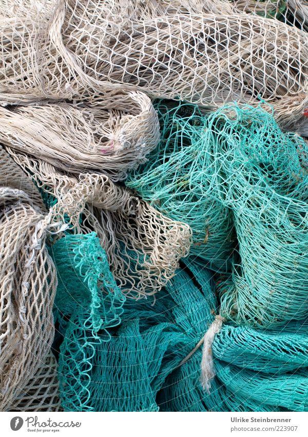 Sardisches Netzwerk II Fischereiwirtschaft türkis Fischernetz Schifffahrt Fischerboot Seil liegen fest Zusammenhalt Knoten Strukturen & Formen Halt trocknen