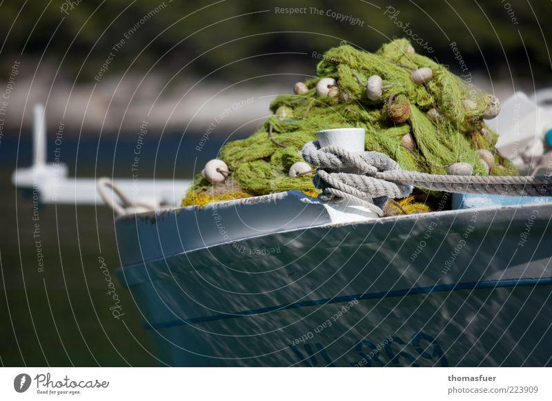 Sommer Salz Sardinen Ferien & Urlaub & Reisen Fischereiwirtschaft Fischerboot Fischernetz Schönes Wetter Netz Seil blau grün Gelassenheit Pause Zufriedenheit