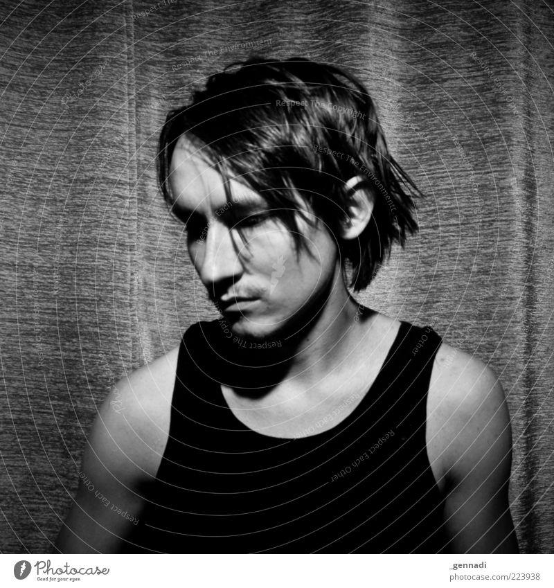 Zeit rumkriegen Mensch Mann Jugendliche schön Erwachsene Gesicht Kopf Haare & Frisuren Traurigkeit warten maskulin 18-30 Jahre dünn Langeweile trendy