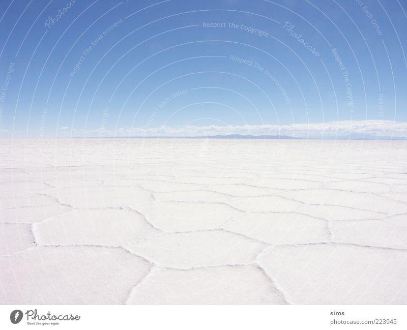 Salar de Uyuni Himmel Natur weiß blau Ferien & Urlaub & Reisen ruhig Ferne Freiheit Landschaft Umwelt Erde Stimmung Horizont groß einzigartig Wüste