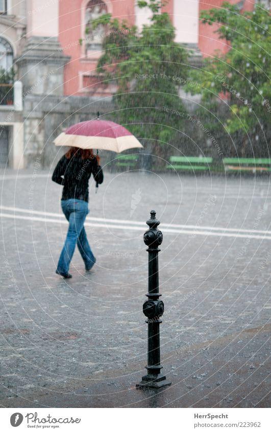 Under my umbrella Frau Mensch Jugendliche Erwachsene feminin kalt dunkel Regen Wetter gehen nass laufen Platz rennen Wassertropfen ästhetisch