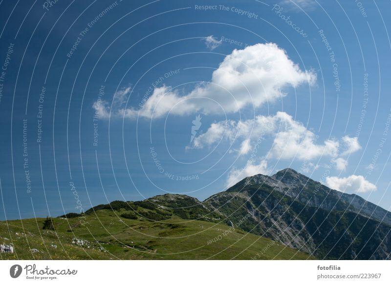 Erinnerung an Sommer [1] Umwelt Natur Landschaft Himmel Wolken Klima Wetter Schönes Wetter Wiese Felsen Alpen Berge u. Gebirge Gipfel Alm Hochgebirge Erholung