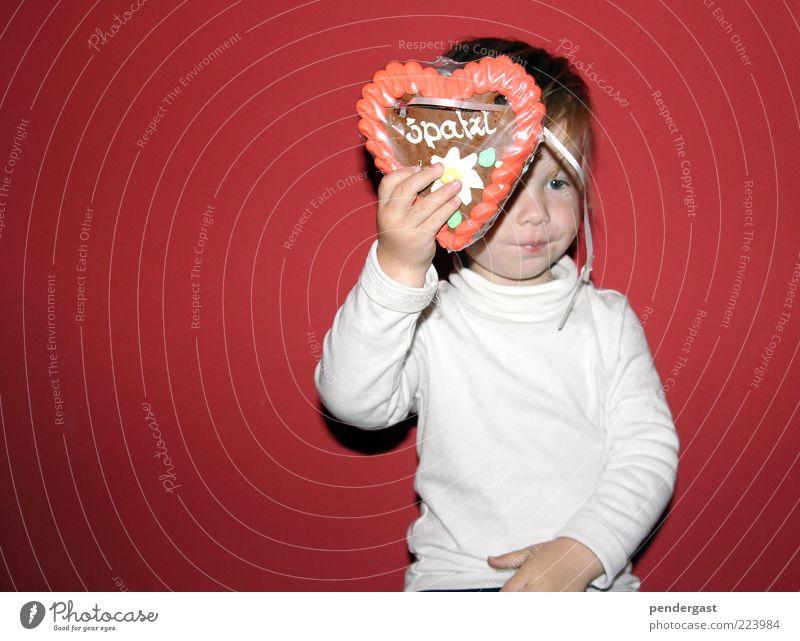 Lebkuchengrüße Mensch Kind rot Junge Feste & Feiern Dekoration & Verzierung festhalten genießen Kleinkind Süßwaren zeigen essbar Lebkuchen Ernährung herzförmig Lebkuchenherzen