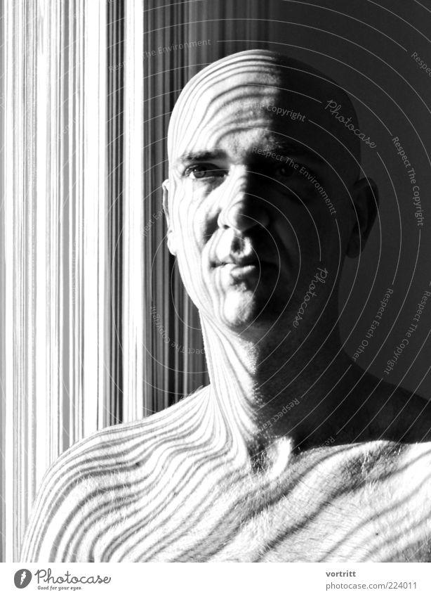angeschlagen Mensch Mann weiß schwarz Erwachsene grau Kopf außergewöhnlich maskulin Design ästhetisch Vorhang Glatze Lichtspiel Identität 30-45 Jahre