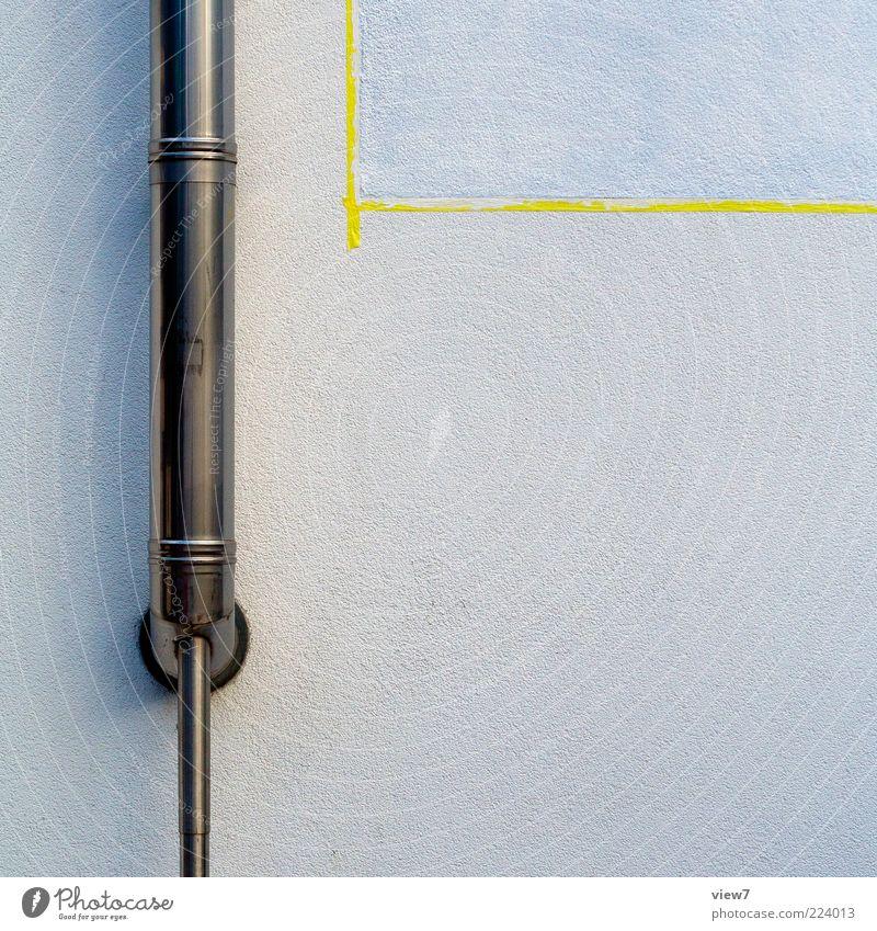 abgekleben gelb dunkel Wand Mauer Stein Metall Linie Fassade Beton Ordnung neu authentisch Streifen Wandel & Veränderung einfach streichen