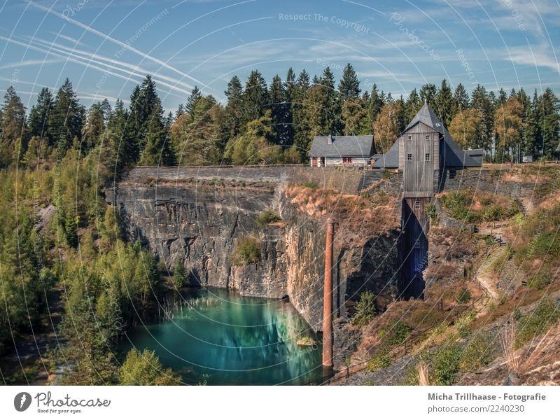 Schieferpark Lehesten / Thüringen Ferien & Urlaub & Reisen Tourismus Natur Landschaft Wasser Himmel Wolken Sonne Sommer Schönes Wetter Baum Berge u. Gebirge