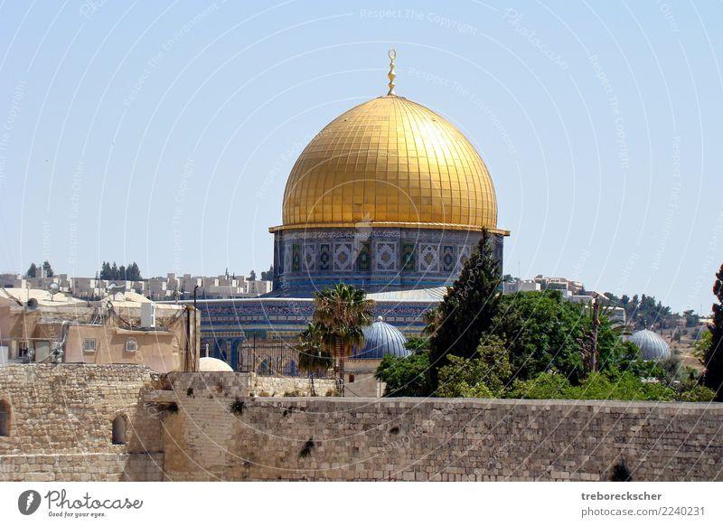 The dome of the Rock in Jerusalem, Israel Ferien & Urlaub & Reisen Sightseeing Skyline Dom Mauer Wand Religion & Glaube Islam Großstadt Moslem Klagemauer