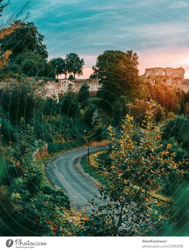 Französische Landschaft mit Schloss bei Sonnenuntergang Ferien & Urlaub & Reisen Tourismus Ausflug Abenteuer Freiheit Sommer Umwelt Natur Frühling