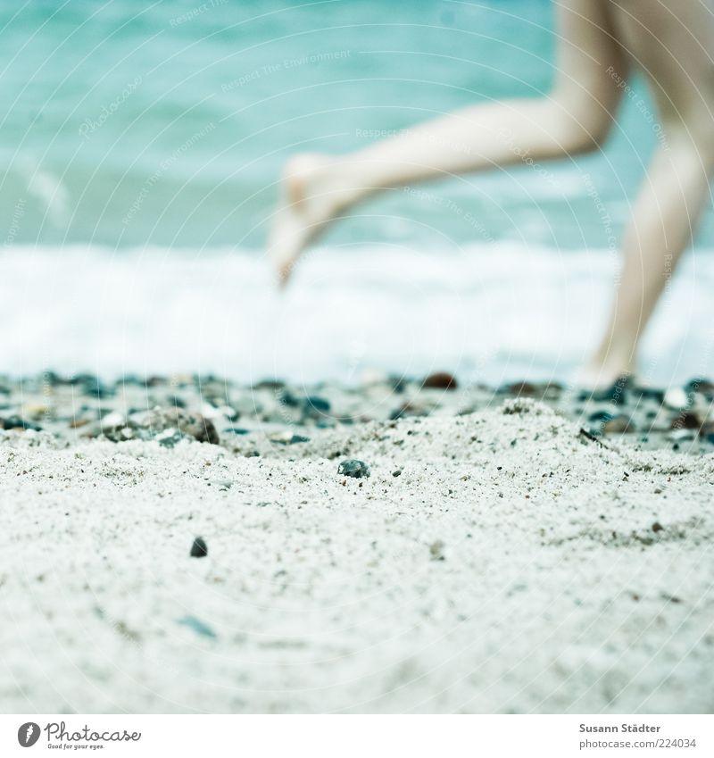 Sommerfreuden Mensch Kind Strand Meer Spielen Sand Stein Beine Küste Fuß Wellen laufen rennen Kindheit Ostsee Anschnitt