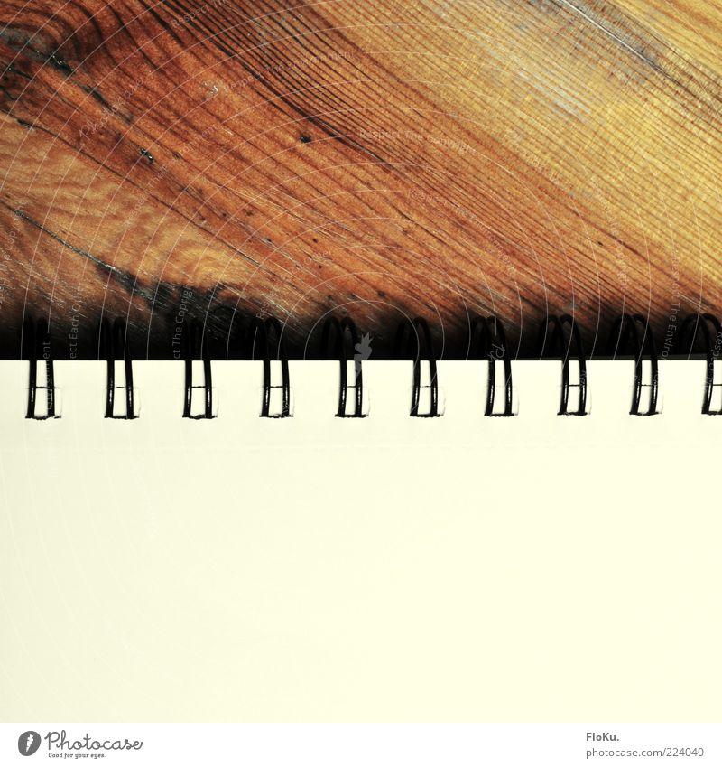 Schreib' doch mal wieder Printmedien Buch alt braun weiß Papier ringbindung Holz Maserung leer Schreibpapier Zettel Farbfoto Innenaufnahme Nahaufnahme