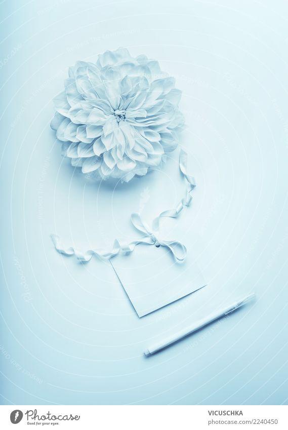 Türkis blau mock up mit Blume und Grußkarte elegant Stil Design Party Veranstaltung Feste & Feiern Valentinstag Muttertag Hochzeit Geburtstag