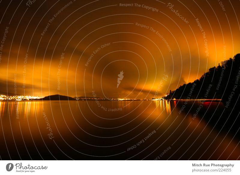 LIGHTS! Himmel Natur Wasser Stadt Sommer Herbst Berge u. Gebirge Landschaft See Wetter braun orange glänzend Schönes Wetter Originalität Illumination