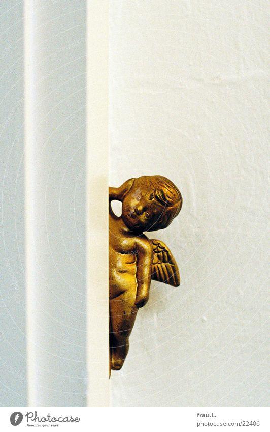 Wach-Engel Weihnachten & Advent Wand gold schlafen Kitsch Häusliches Leben Treppenhaus Christentum Keramik bewachen Türrahmen