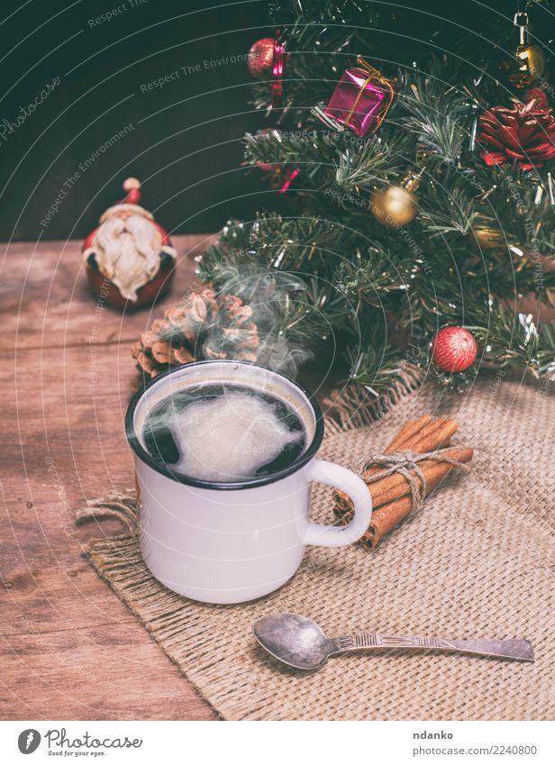 heißer schwarzer Kaffee mit Dampf Kaffeetrinken Getränk Tasse Löffel Tisch Weihnachten & Advent Silvester u. Neujahr dunkel frisch oben braun weiß Energie Farbe