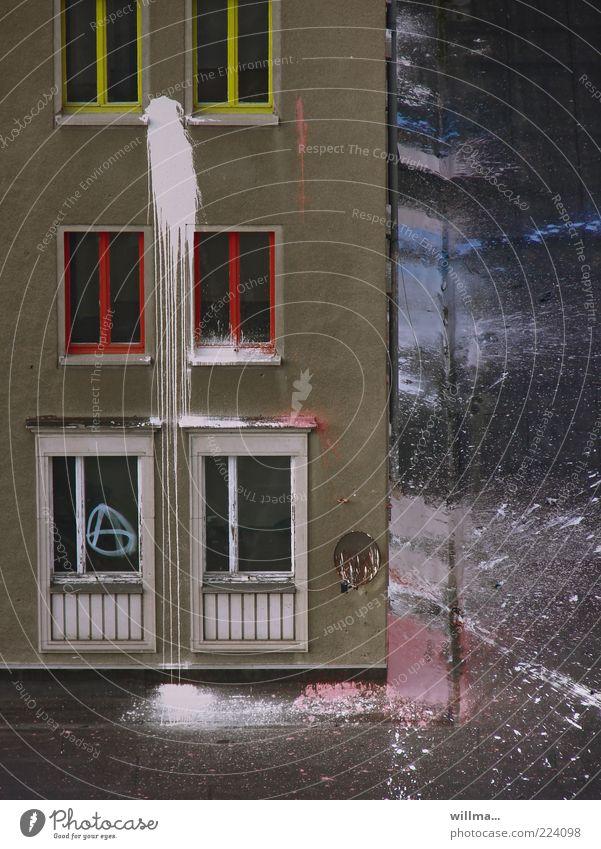 lifestyle II Lifestyle Chemnitz Haus Bauwerk Gebäude Mauer Wand Fassade Fenster Aggression rebellieren Häusliches Leben Wut Fensterrahmen Farbstoff Farbfleck