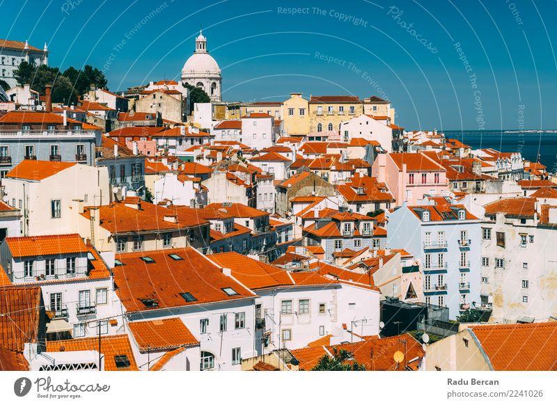 Himmel Ferien & Urlaub & Reisen alt Sommer blau Stadt schön Farbe Landschaft rot Haus Architektur Umwelt Gebäude Tourismus orange