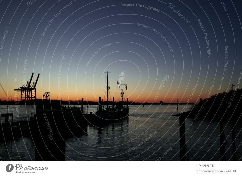 Heimweh Ferien & Urlaub & Reisen Tourismus Umwelt Wasser Himmel Wolkenloser Himmel Sonnenaufgang Sonnenuntergang Fluss Elbe Hamburg Deutschland Europa