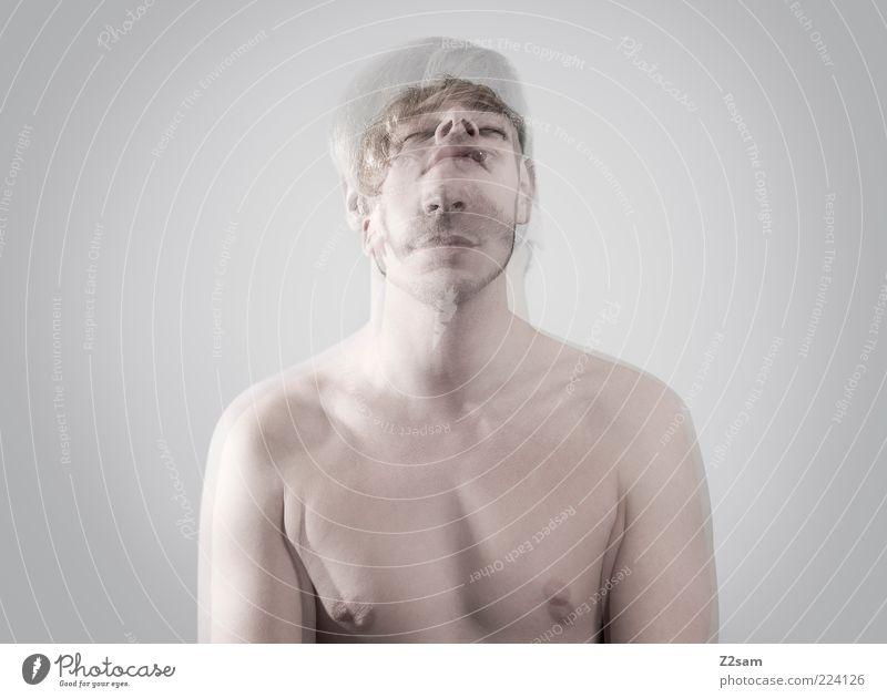 zweideutig maskulin Junger Mann Jugendliche 18-30 Jahre Erwachsene blond Bewegung träumen nackt grau Identität einzigartig Surrealismus Verzweiflung