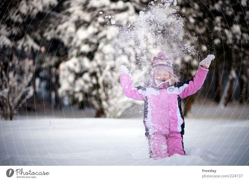 Yea! Klimawandel! Mensch Kind Ferien & Urlaub & Reisen Mädchen Freude Winter kalt Leben Schnee Spielen Glück Freiheit Gesundheit Mode Kindheit Arme