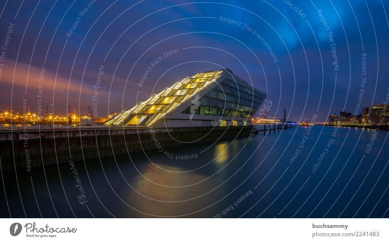Dockland im Hamburger Hafen Stadt Wasser Architektur Gebäude orange Büro Europa Fluss Elbe