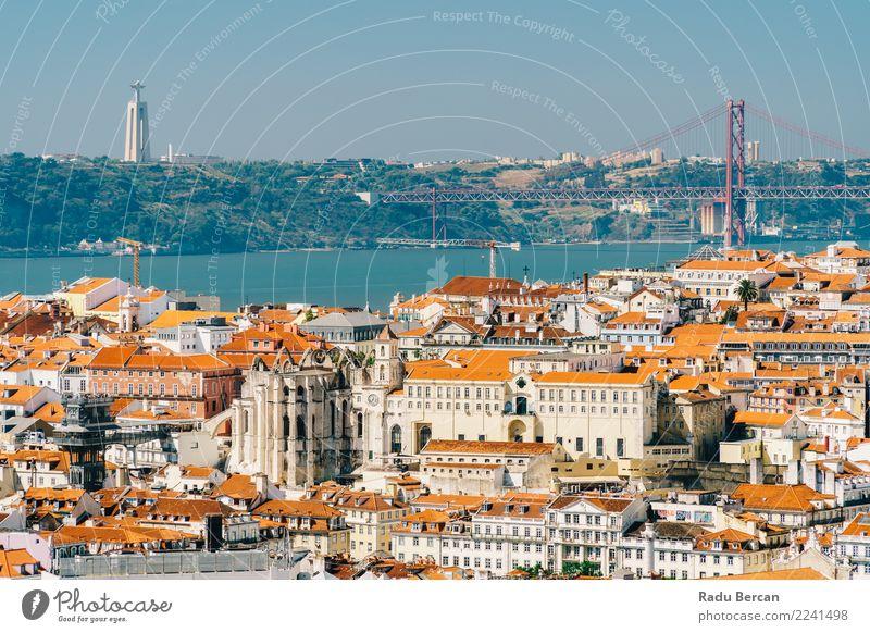 Luftaufnahme der Skyline von Lissabon und der Brücke vom 25. April in Portugal Ferien & Urlaub & Reisen Tourismus Abenteuer Ferne Sightseeing Städtereise Sommer