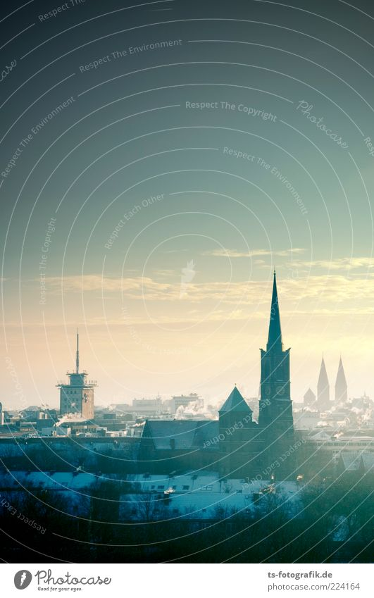 Bremen II Himmel Natur Stadt blau Winter Haus kalt Umwelt Architektur Gebäude Luft Nebel hoch Kirche Urelemente Skyline