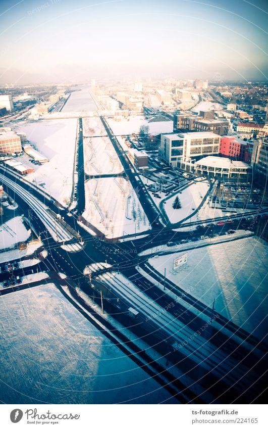 Kampfadern Umwelt Himmel Winter Eis Frost Schnee Bremen Überseestadt Stadt Hafenstadt Stadtrand Skyline Menschenleer Hochhaus Bauwerk Gebäude Architektur