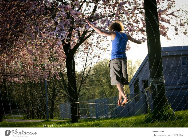 slack. Lifestyle Stil Freizeit & Hobby Freiheit Mensch Junger Mann Jugendliche 1 18-30 Jahre Erwachsene Baum Gras Park Wiese Bewegung laufen stehen Coolness