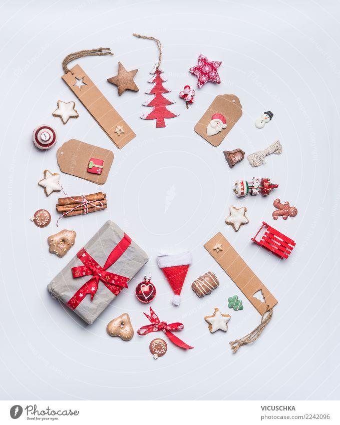 Weihnachten Rahmen rund Weihnachten & Advent Winter Hintergrundbild Stil Feste & Feiern Design Dekoration & Verzierung Geschenk kaufen Zeichen viele Tradition