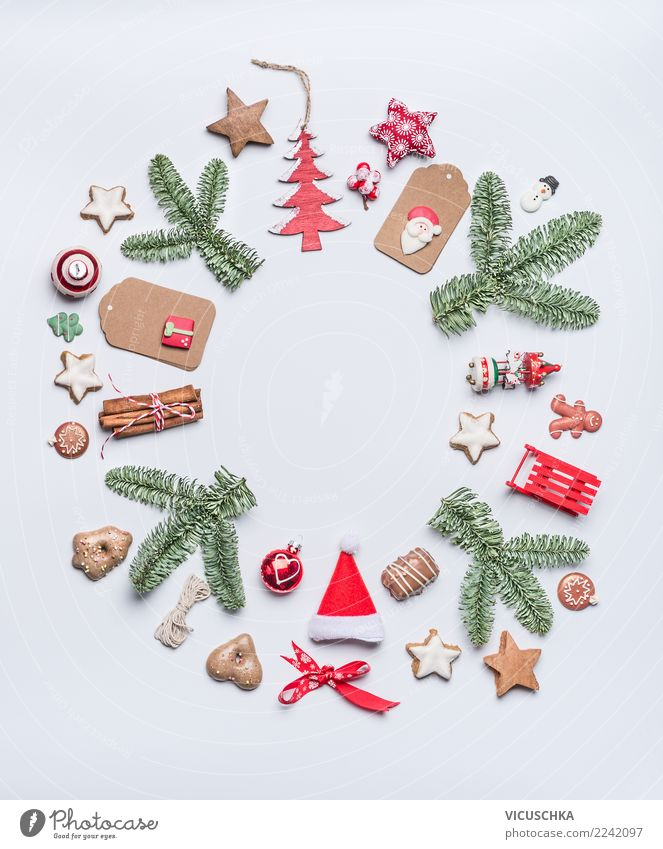 Runde Weihnachten Rahmen Layout Stil Design Ferien & Urlaub & Reisen Winter Feste & Feiern Weihnachten & Advent Dekoration & Verzierung Zeichen Ornament