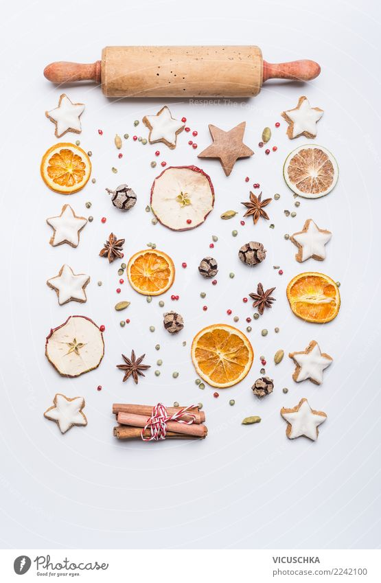 Weihnachtsbacken Layout auf weiß Weihnachten & Advent Winter Hintergrundbild Stil Feste & Feiern Design Dekoration & Verzierung Orange kaufen Zeichen