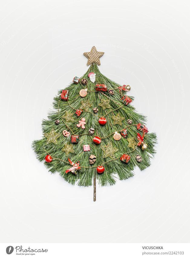 Weihnachtsbaum gemacht mit Tannenzweige Stil Design Ferien & Urlaub & Reisen Winter Feste & Feiern Weihnachten & Advent Dekoration & Verzierung Zeichen Ornament