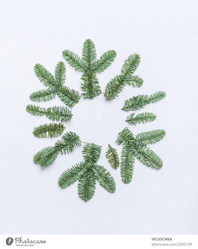 Schneeflocke gemacht mit Tannenzweigen auf weiß Stil Design Winter Feste & Feiern Weihnachten & Advent Natur Dekoration & Verzierung Zeichen Ornament