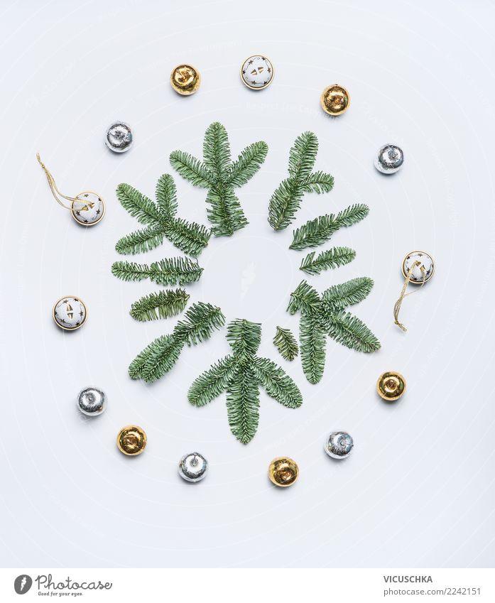 Schneeflocke aus Tannenzweige Natur Ferien & Urlaub & Reisen Weihnachten & Advent Pflanze Winter Hintergrundbild Stil Feste & Feiern Design