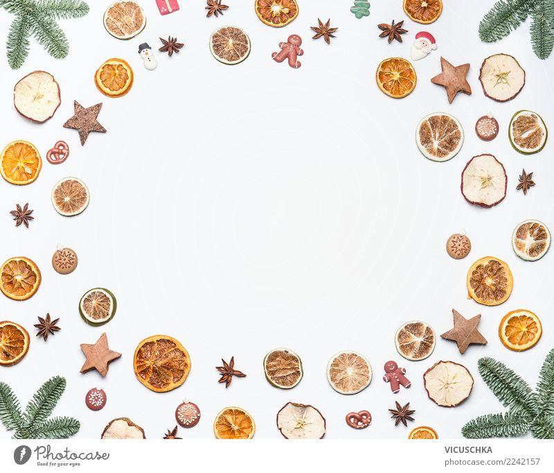 Weihnachten Hintergrund Rahmen auf weß Süßwaren Festessen Stil Design Ferien & Urlaub & Reisen Winter Feste & Feiern Weihnachten & Advent