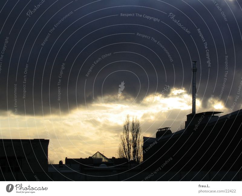 Abend Himmel Baum Winter ruhig Haus Regen Dach Fabrik Sturm Gewitter Stadtteil gemalt Stadt Wohngebiet