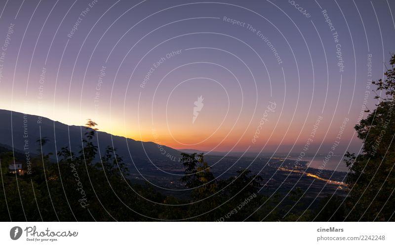 good night Greece Natur Landschaft Pflanze Wolkenloser Himmel Sonnenaufgang Sonnenuntergang Sommer Schönes Wetter Hügel Berge u. Gebirge Küste Bucht Meer frei