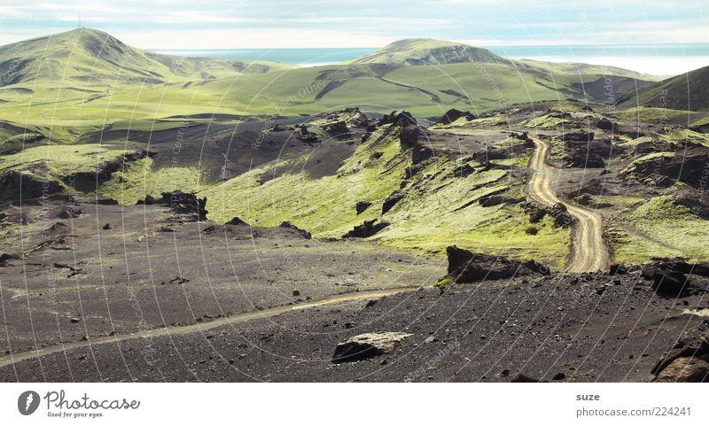Der Weg ist der Weg Himmel Natur grün schön Ferien & Urlaub & Reisen Ferne Freiheit Berge u. Gebirge Landschaft Umwelt Wege & Pfade Erde Ausflug Ziel außergewöhnlich Hügel