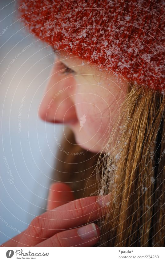 An einem Wintertag Mensch Jugendliche weiß schön blau rot Gesicht Leben kalt Schnee feminin Kopf Erwachsene braun
