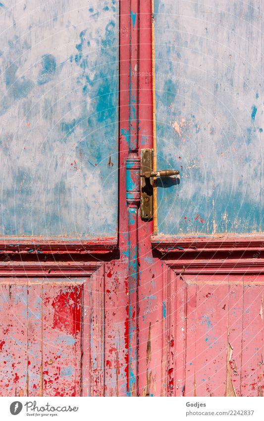 Closed Door II | Spannung Liapades Korfu Dorf Haus Architektur lost places Tür Griff warten alt historisch retro blau gold rosa rot Verschwiegenheit Ausdauer