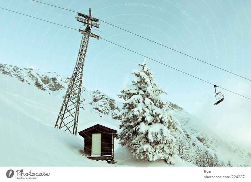 frohes fest euch allen Umwelt Natur Landschaft Himmel Wolken Winter Schönes Wetter Schnee Pflanze Baum Tanne Felsen Alpen Berge u. Gebirge kalt Skilift Hütte