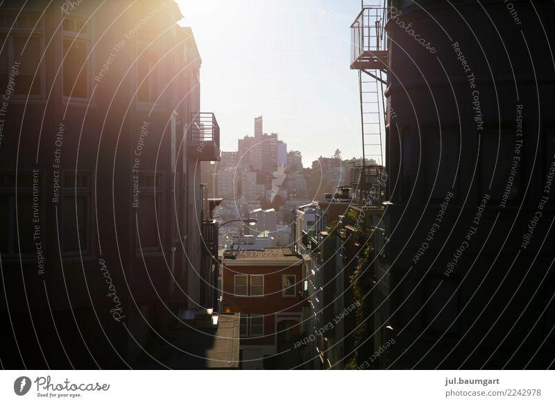 USA City San Francisco Ferien & Urlaub & Reisen Sightseeing Städtereise Sommer Sonne Kalifornien Stadt Altstadt Skyline Menschenleer Haus Gebäude Architektur
