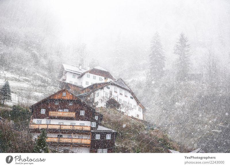Dichter Schneefall über Bergdorf Ferien & Urlaub & Reisen Haus Wald Berge u. Gebirge kalt Wetter Europa Alpen Unwetter Silvester u. Neujahr Sturm frieren