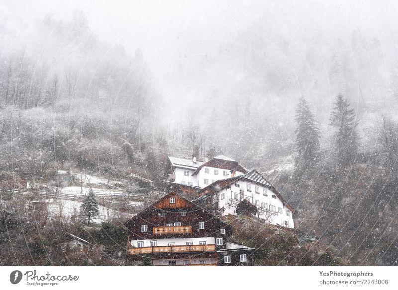 Schneefall über österreichischem Bergdorf Ferien & Urlaub & Reisen Haus Wald Berge u. Gebirge kalt Wetter Europa Alpen Unwetter Silvester u. Neujahr Sturm