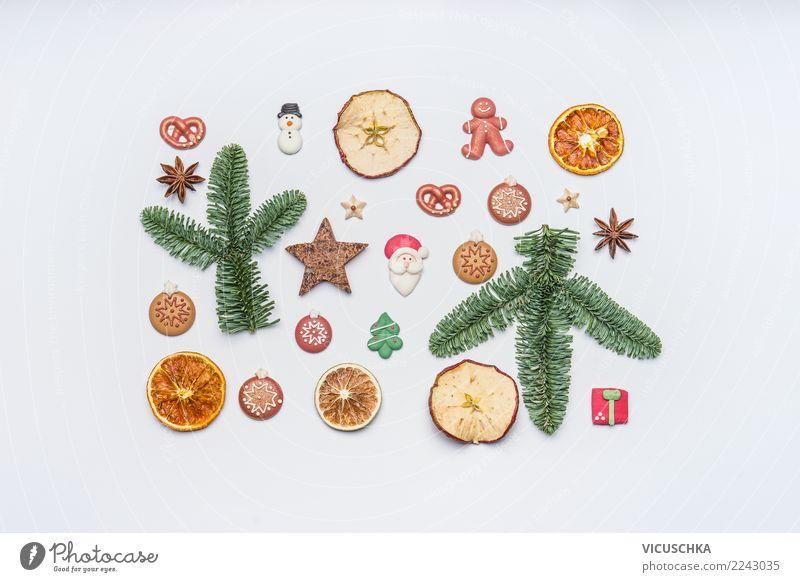 Weihnachten Stillleben auf weiß Süßwaren Design Winter Feste & Feiern Weihnachten & Advent Dekoration & Verzierung Zeichen Ornament Tradition Entwurf
