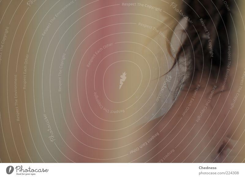 Nack en Mensch Frau schön Erwachsene feminin nackt Haare & Frisuren Haut nass ästhetisch brünett anonym Bildausschnitt Anschnitt Haarsträhne Nacken